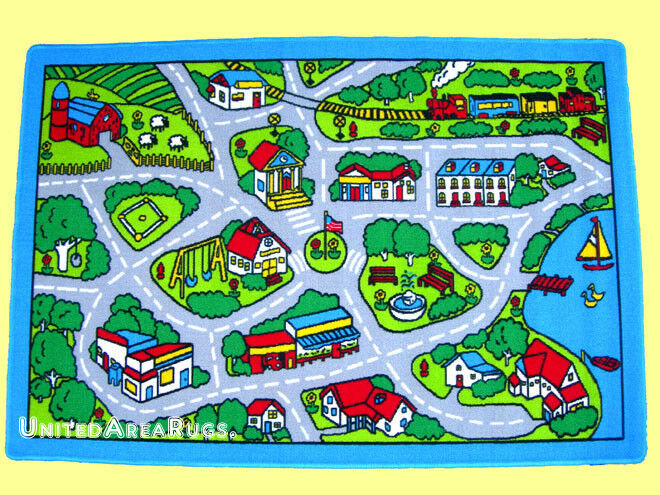 5x7 Area Rug Play Road Driving Time Street Car Kids City