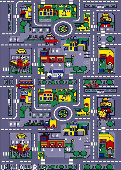 3x5 Area Rug Play Road Driving Time Street Car Kids City Map Fun New Gray