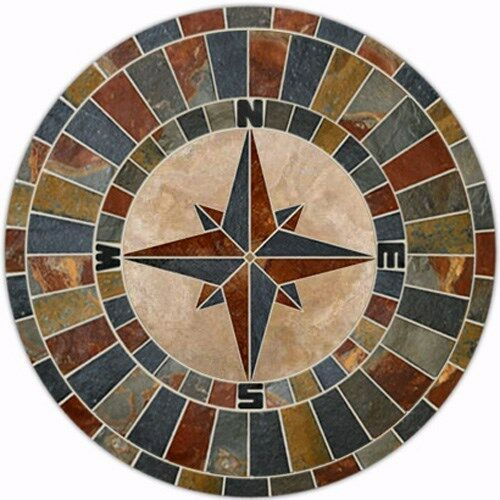 60inch Natural Slate Tile Compass Rose Mosaic Medallion Ebay