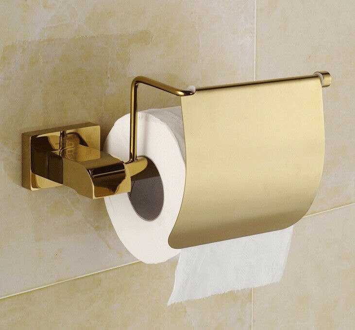Luxury wall mounted toilet paper holder roll tissue bracket gold polished ebay - Gold toilet paper holder stand ...