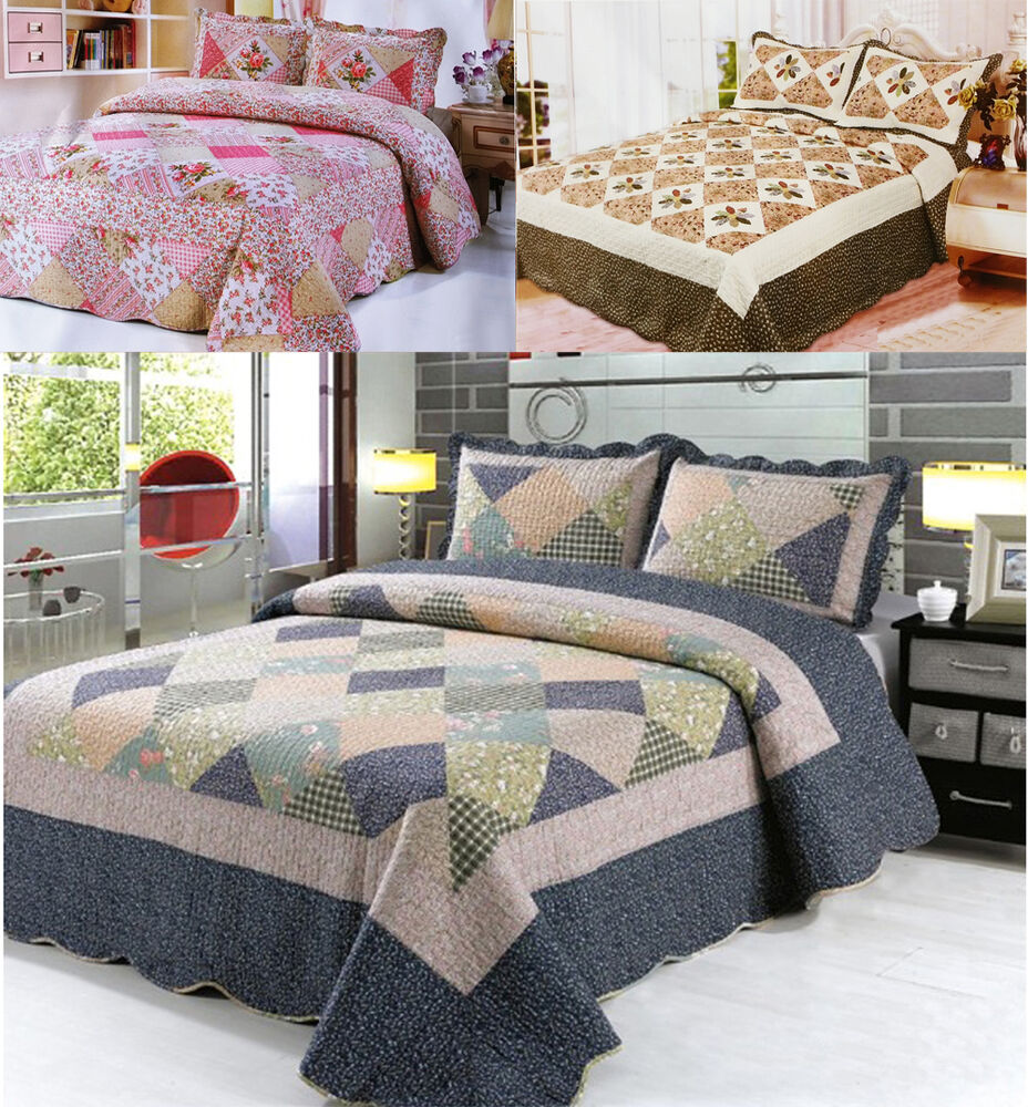 3pcs quilted bedspread throw set comforter 2 pillow cases shams double king size ebay. Black Bedroom Furniture Sets. Home Design Ideas