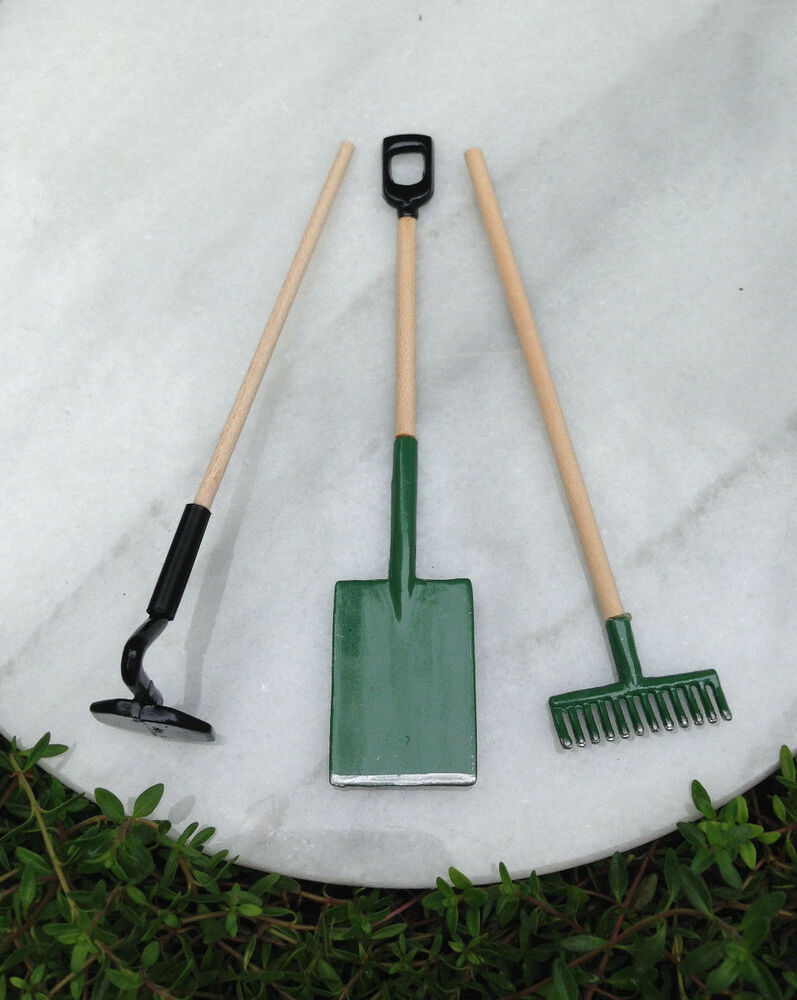 Miniature dollhouse fairy garden accessories shovel hoe for Garden tools accessories