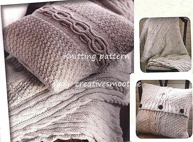 (692) Aran Knitting Pattern for Cable Cushion and Throw Set eBay