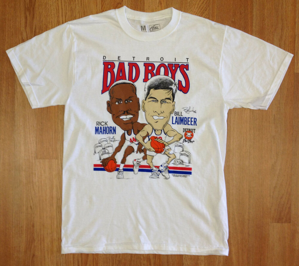 Detroit pistons bad boys t shirt laimbeer rick mahorn for Retro basketball t shirts