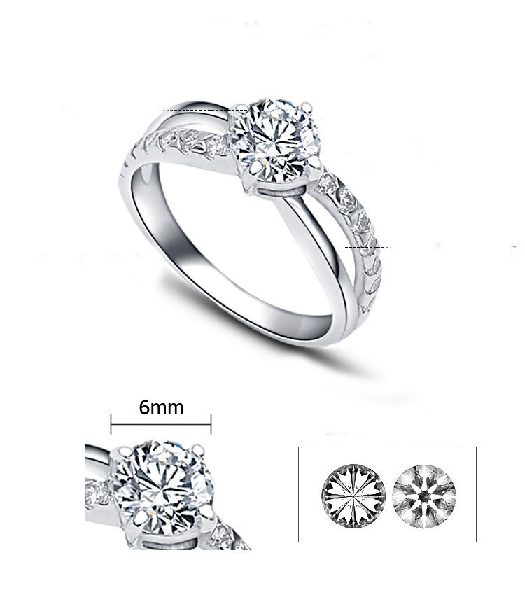 ViVi Ladies Engagement Sterling Silver Diamond Ring 8442a