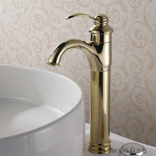 Polished brass gold single handle bathroom sink faucet basin mixer tap a130 ebay for Polished gold bathroom faucets