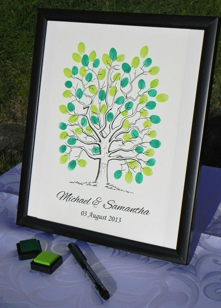 Personalised A3 Fingerprint Tree Guest Book + Ink Wedding Birthday ...