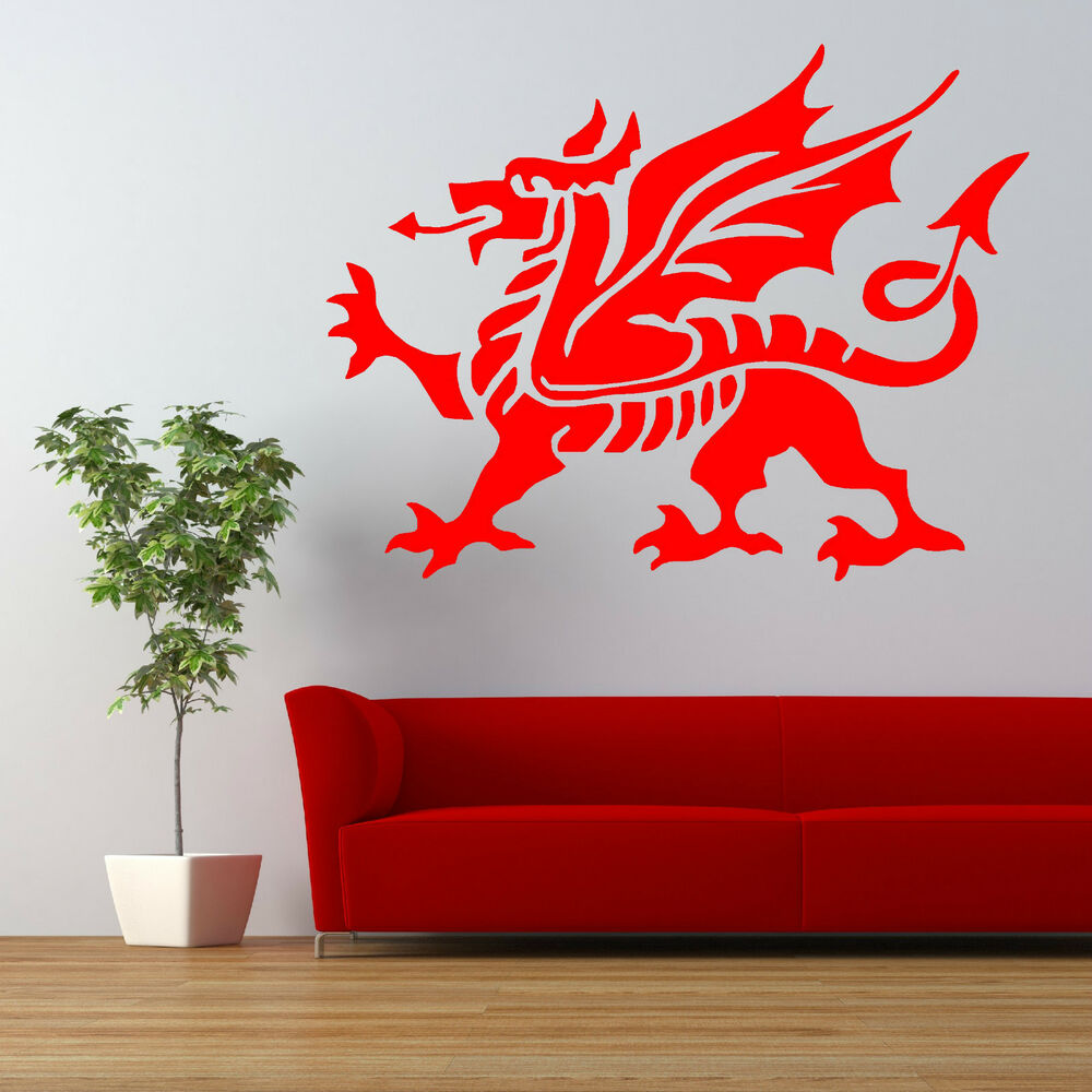 welsh dragon flag vinyl wall art sticker decal ebay. Black Bedroom Furniture Sets. Home Design Ideas
