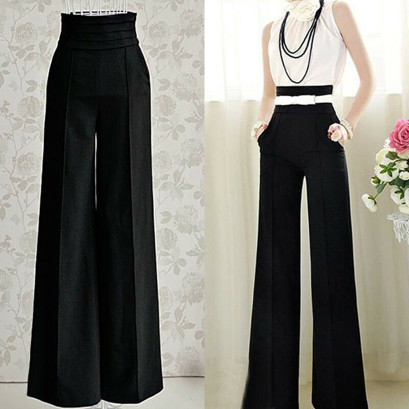 Women Sexy Fashion Casual High Waist Flare Wide Leg Long Pants ...