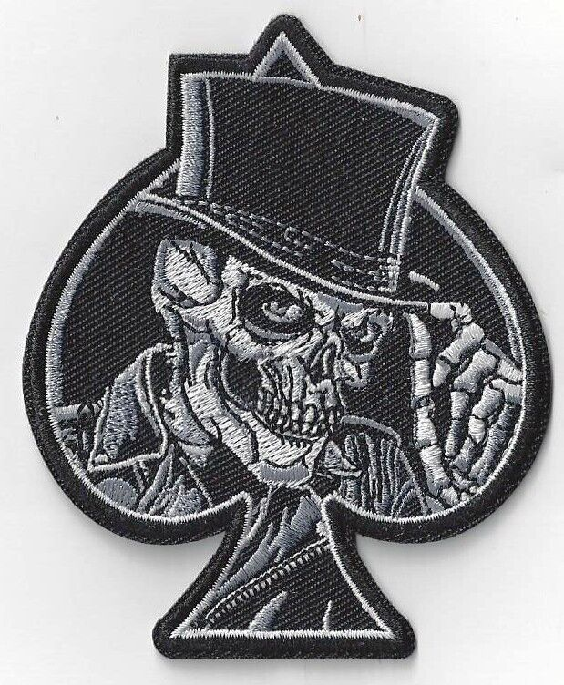 BIKER DEATH SKULL ACE OF SPADES IRON ON PATCH BUY 2 GET 1