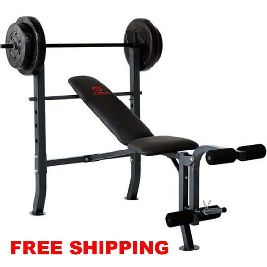 Standard Bench Press With 80lbs Of Weight Plates Home Gym