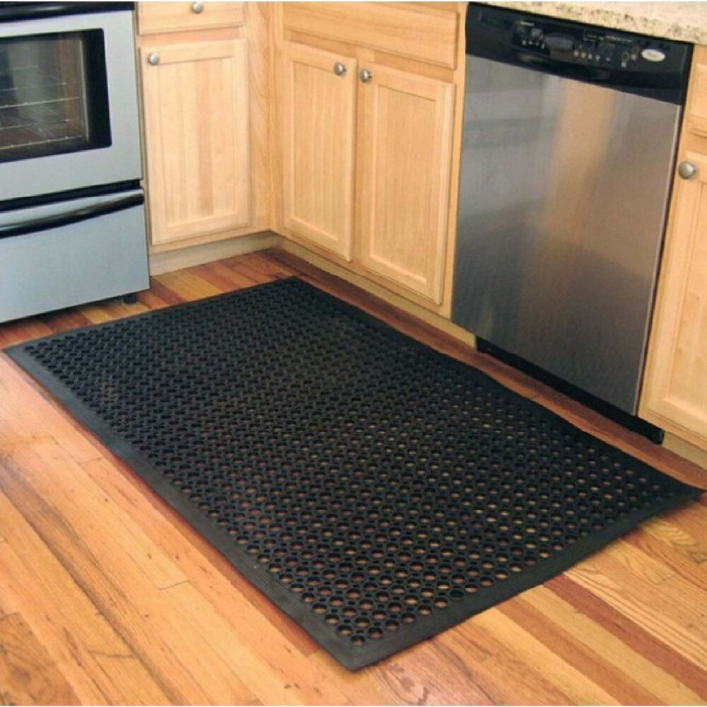 Floor Mat 3x5ft Black Industrial Rubber Indoor Outdoor
