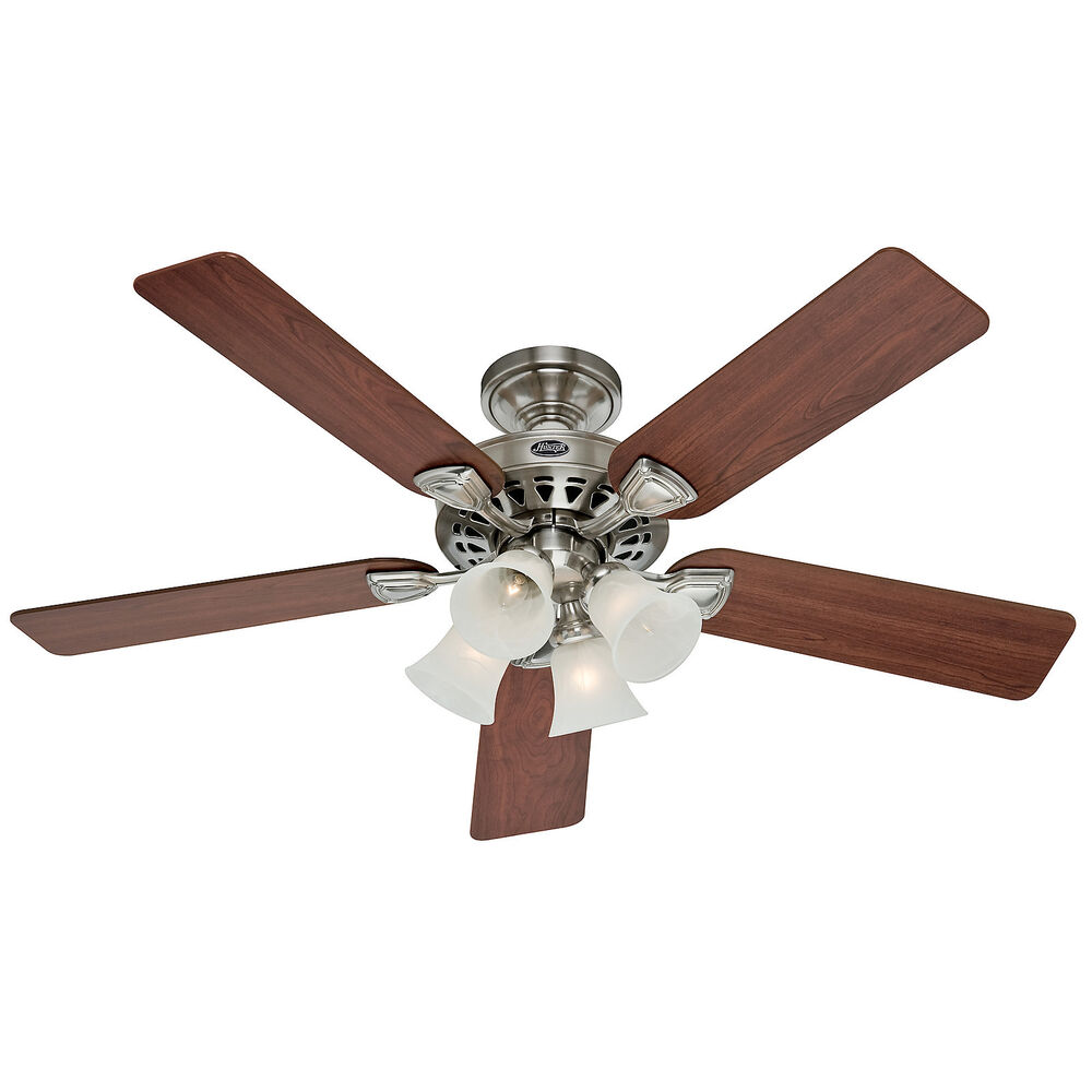 "A Large Ceiling Fan: Hunter 52"" Traditional Large Room Brushed Nickel Ceiling"