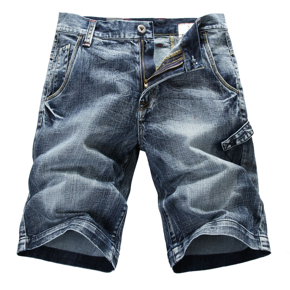 new mens foxjeans blue denim shorts size 32 34 36 38 40 42 44 ebay. Black Bedroom Furniture Sets. Home Design Ideas