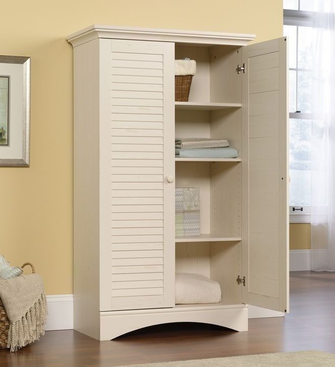 Sauder Storage Organizer Wood Tall Shelf White Cabinet
