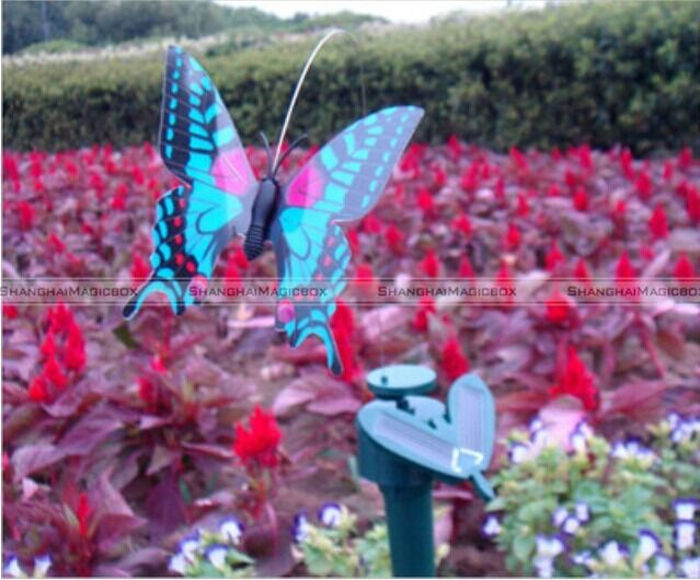 Decor solar power color flying butterfly outdoor garden for Outdoor butterfly decor