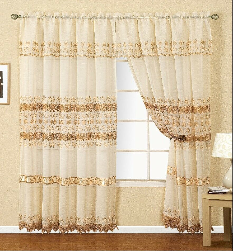 Joyce Macrame Window Panel With Attached Valance Floral Design By Dainty Home Ebay