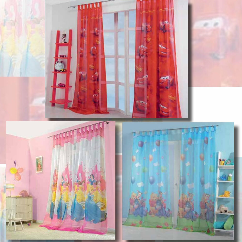 kinderzimmer gardinen vorhang set winnie the pooh cars princess 2 schals ebay. Black Bedroom Furniture Sets. Home Design Ideas