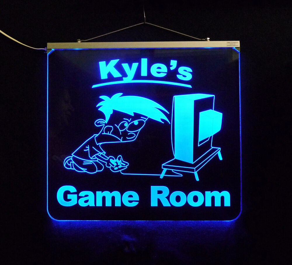 Gamer Man Cave Gifts : Personalized game room man cave garage bar led sign ebay