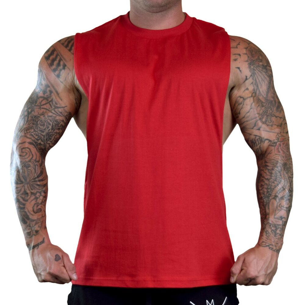 Men 39 s red workout t shirt tank top bodybuilding gym muscle for Best fitness t shirts