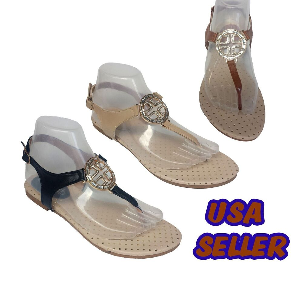 New Womens Summer Rhinestone Cute Gladiator Thong Flat