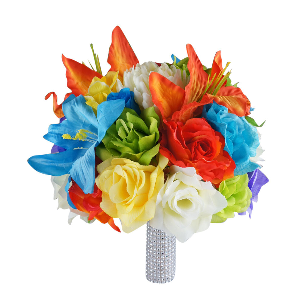 Real Vs Fake Flowers Wedding: Rainbow Colorful Wedding Bouquet,silk Flower Arrangement