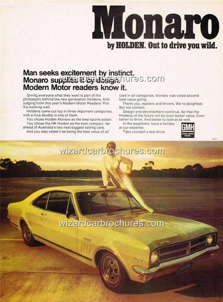 1968 HOLDEN HK MONARO GTS 327 A3 POSTER AD ADVERT ADVERTISEMENT SALES  BROCHURE | eBay