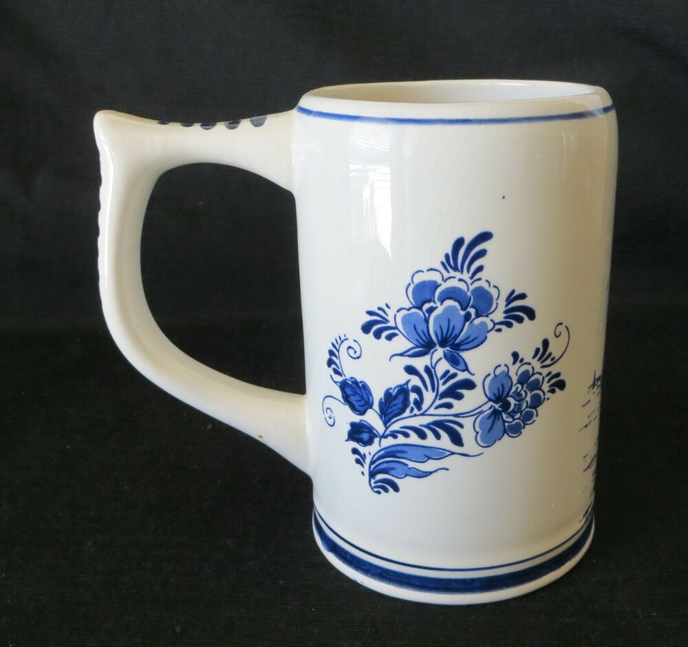 vintage delft blauw hand painted windmill stein mug holland 5 tall ebay. Black Bedroom Furniture Sets. Home Design Ideas