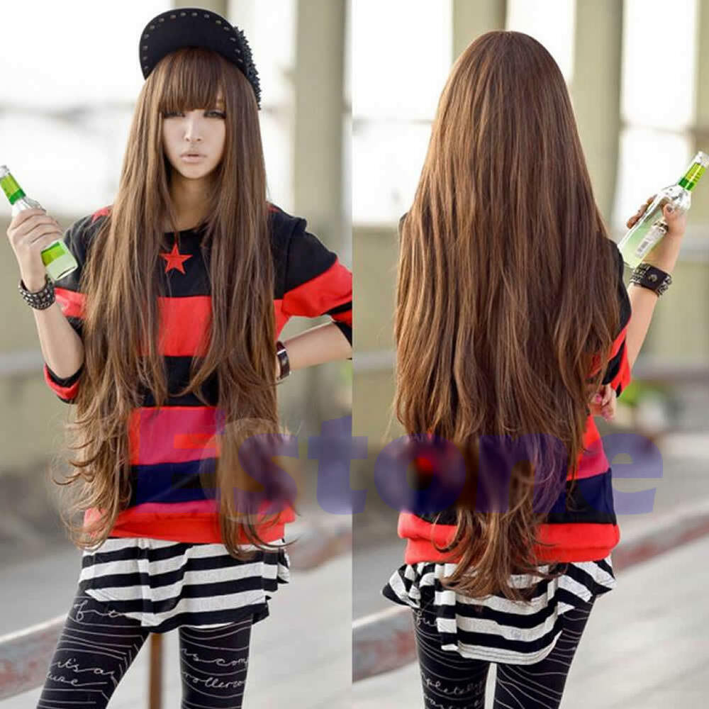 80 Brown Women Cosplay Long Style Wavy Curly Synthetic