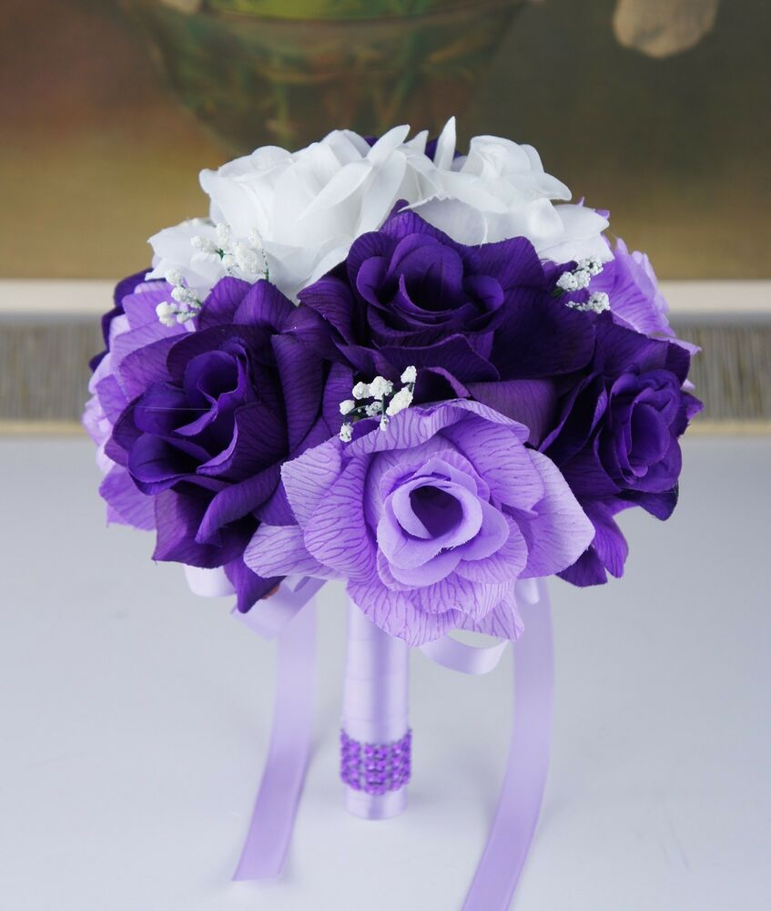 Purple And White Wedding Flower Bouquets: 3 Bouquets 3 Boutonnieres Silk Flower Package-lavender