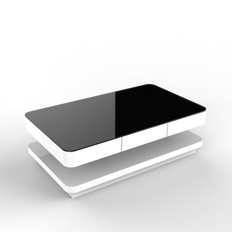 White coffee table with black tempered high gloss glass ebay for Black and white glass coffee table