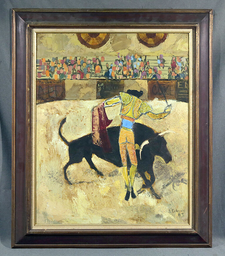 New Jersey Home Painting From J S Painting: Abstract Bullfighting Oil Painting Signed J. Colman, 1963