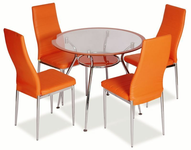 jersey orange round glass dining table ebay