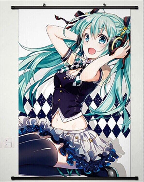 vocaloid hatsune miku home decor anime japanese poster wall scroll new cute ebay. Black Bedroom Furniture Sets. Home Design Ideas