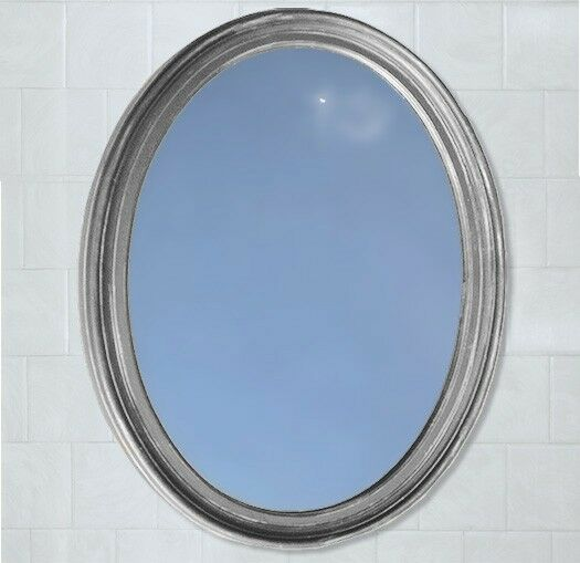 Bathroom Mirror Vanity Oval Framed Wall Mirror Satin Nickel Finish Ebay