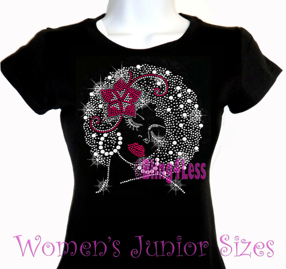 lady with afro pink flower iron on rhinestone t shirt bling hair style top ebay. Black Bedroom Furniture Sets. Home Design Ideas