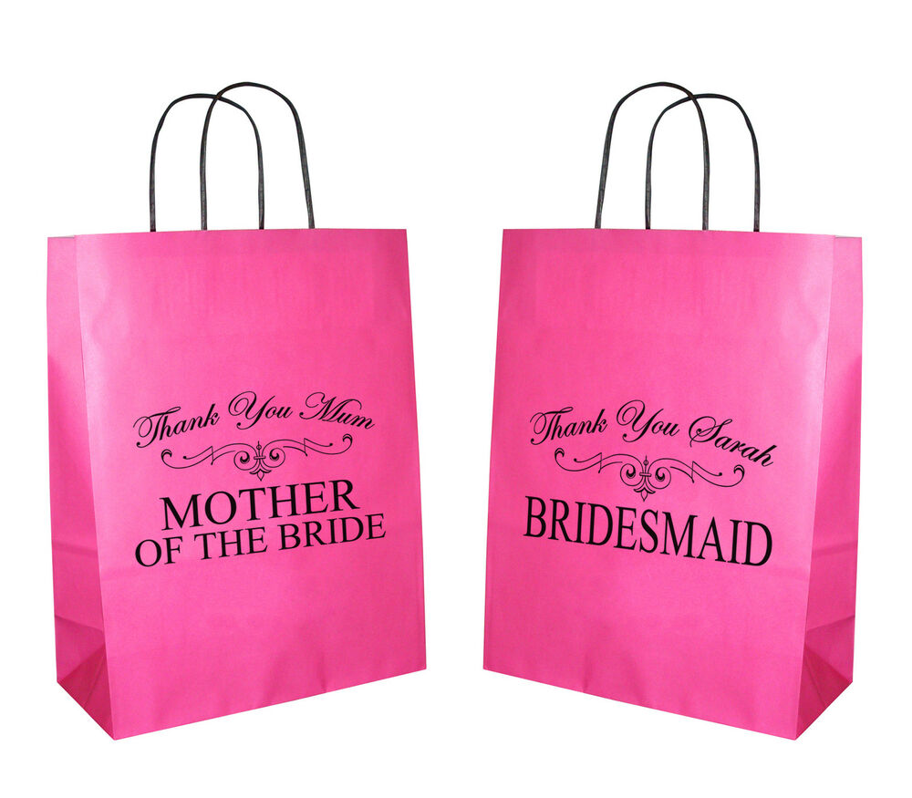Wedding Paper Gift Bags: Bridesmaid Mother Of Bride Personalised Hot Pink Wedding
