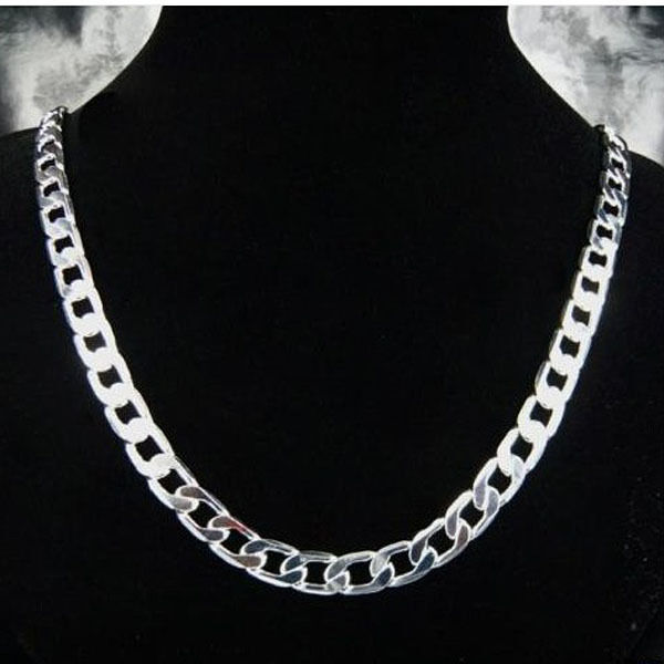 925Sterling Silver Solid Silver Flat Sideways Chain Necklace 10MM 18