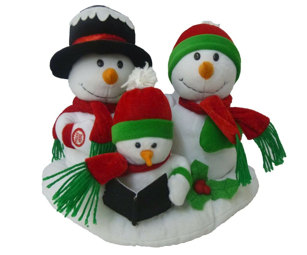 Cartoon Christmas Toys : Singing snowman snowmen family animated plush christmas