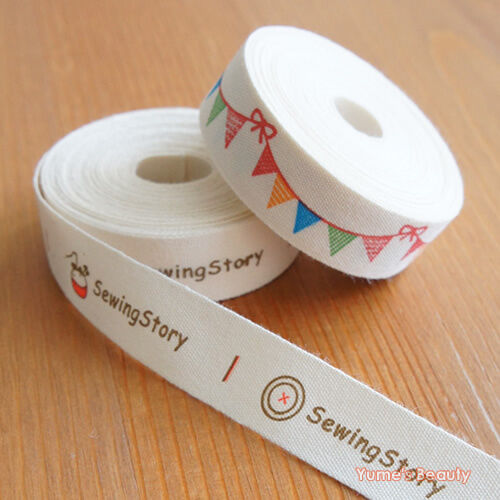 2 yards cut sew labels sewing story cotton ribbon for Sew in craft labels
