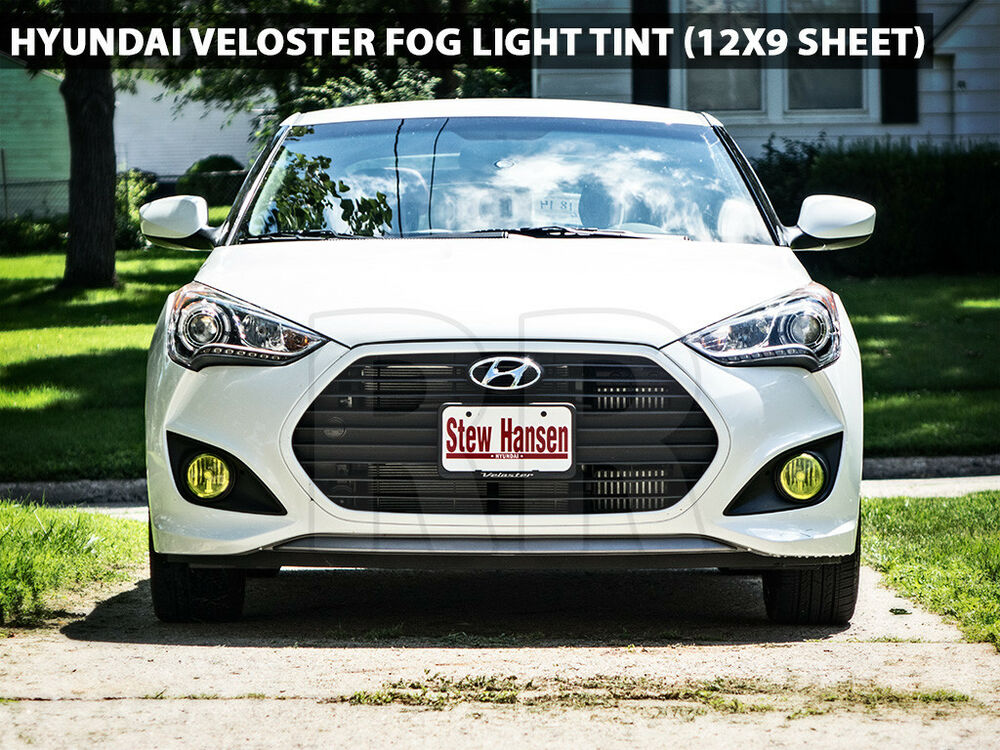 Hyundai Veloster Yellow Fog Light Tint Transparent Vinyl