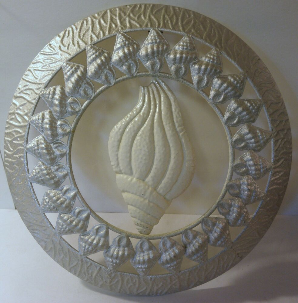 Wall Metal Art Tulip Shell Medallion Nautical Beach House