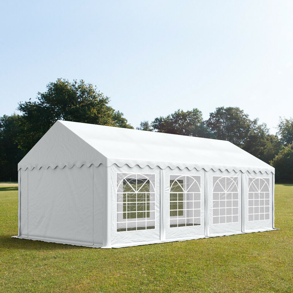 4x8 m partyzelt pavillon zelt gartenzelt festzelt mit pvc plane wei profizelt24 ebay. Black Bedroom Furniture Sets. Home Design Ideas