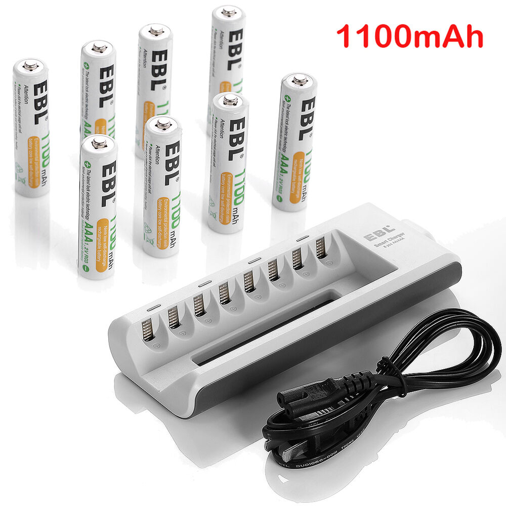 EBL 8 x AAA Ni-MH Rechargeable Batteries + 8 Slot Battery ...