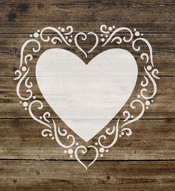 Stencil shabby chic heart french vintage sign furniture for Stencil mobili