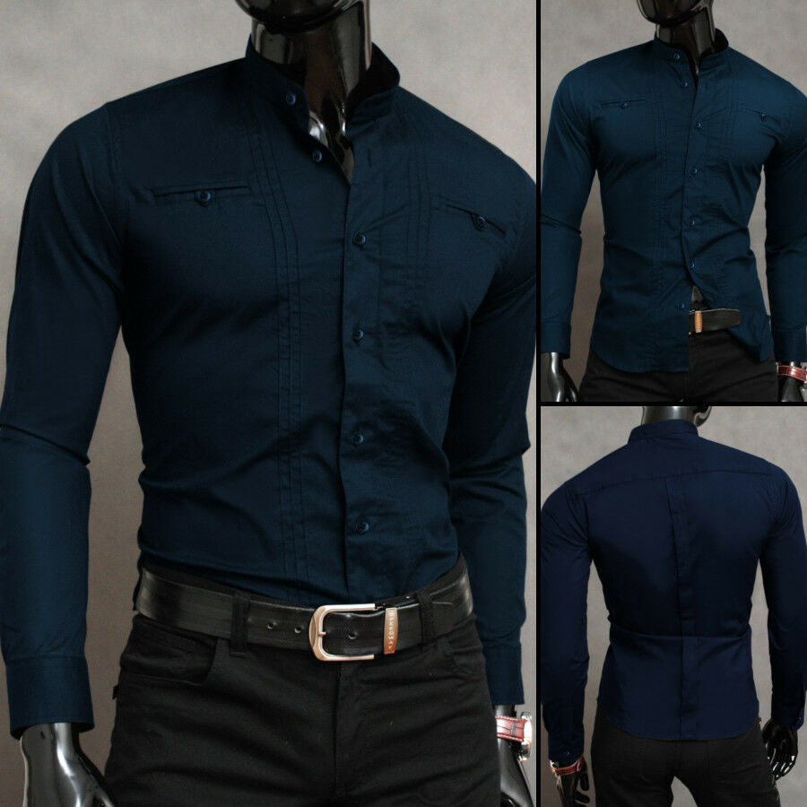 Sale navy blue xl luxury mens casual formal band grandad for Navy slim fit shirt