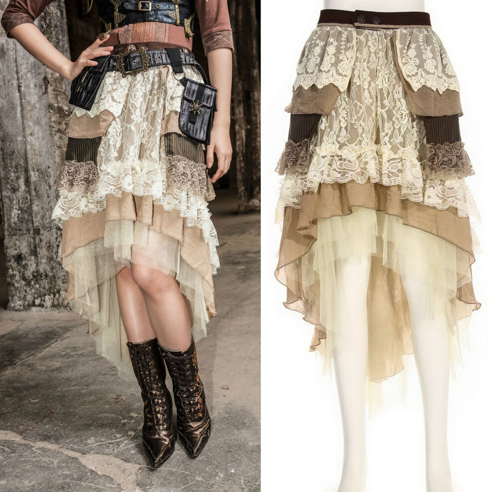steampunk gothic rq bl rock lang kurz asymmetrisch beige skirt vintage spitzen ebay. Black Bedroom Furniture Sets. Home Design Ideas