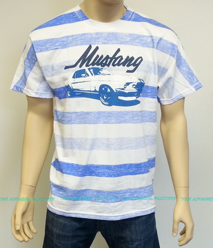 New Licensed Ford Mustang Stripes T Shirt Vintage Muscle