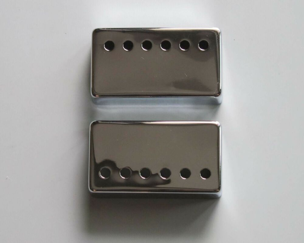 set of 2 metal humbucker guitar pickup cover covers chrome fits lp les paul ebay. Black Bedroom Furniture Sets. Home Design Ideas