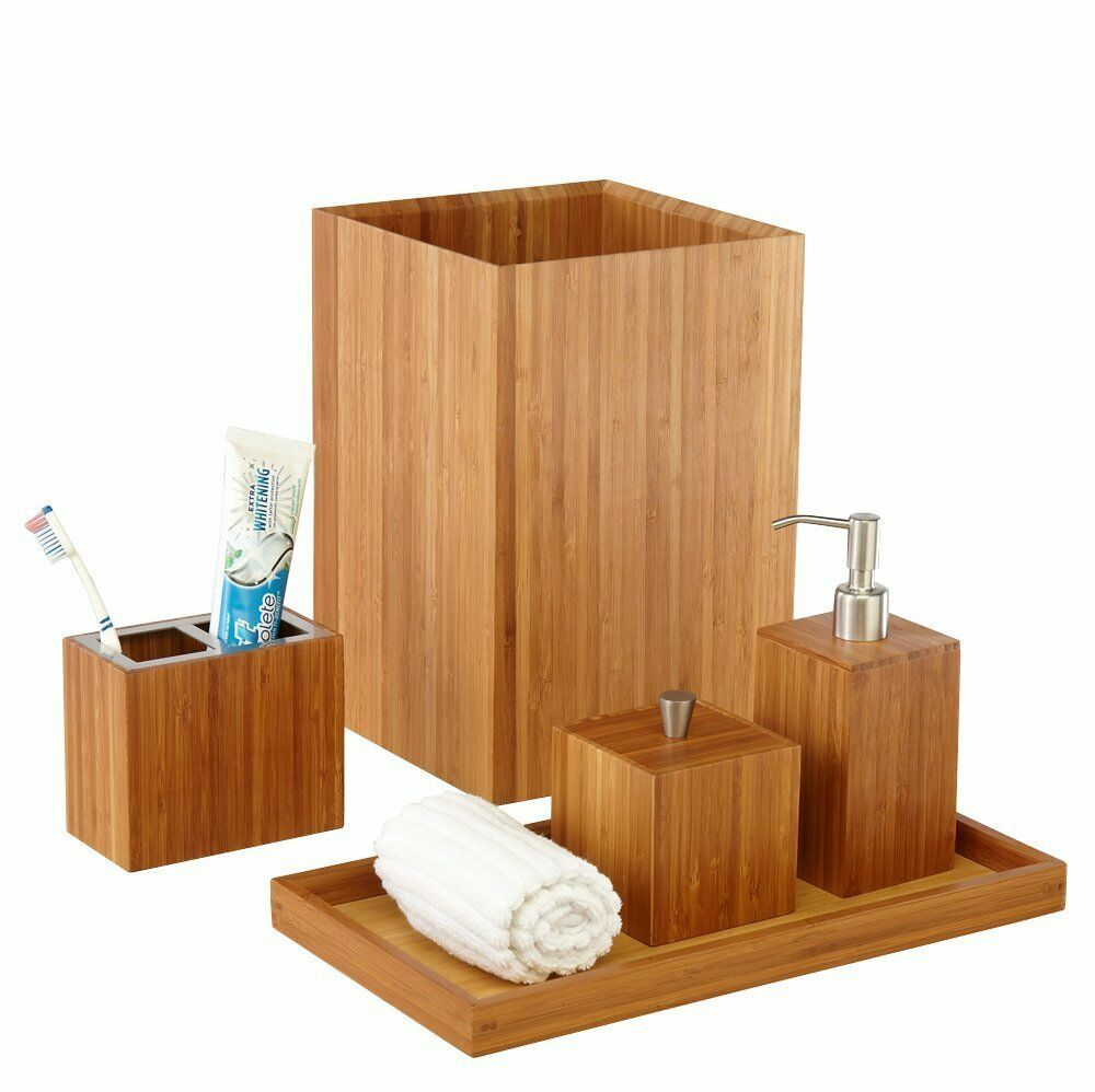 Seville classics bamboo bath and vanity set 5 pcs for Rack for bathroom accessories